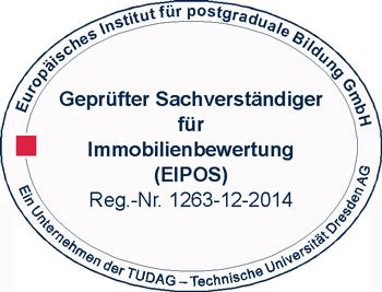 Logo Eipos Zertifizierung geprüfter Gutachter für Immobilienbewertung